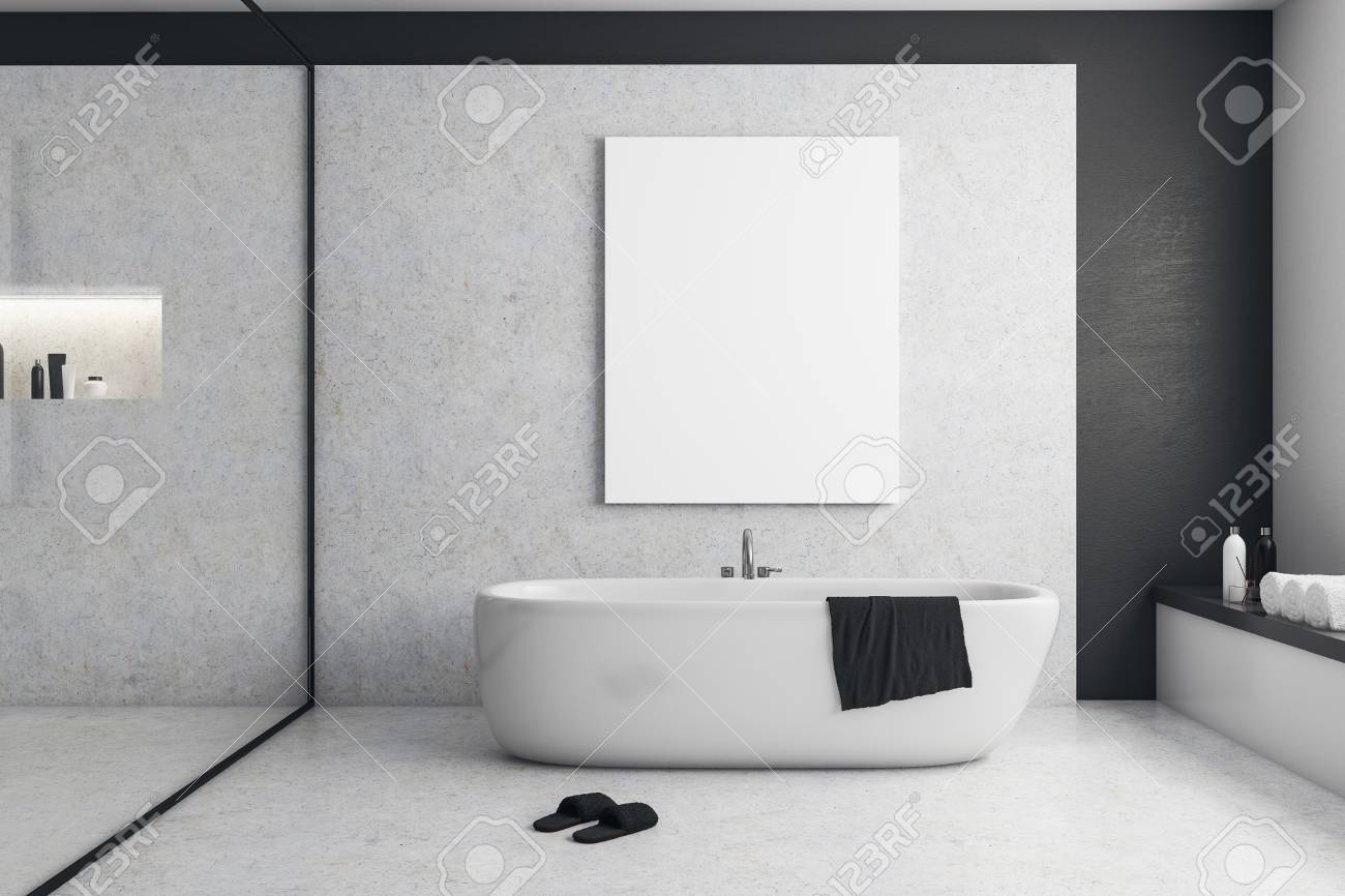 Modern Bathroom Interior With Empty Billboard And Equipment Stock Photo Picture And Royalty Free Image Image 99505197