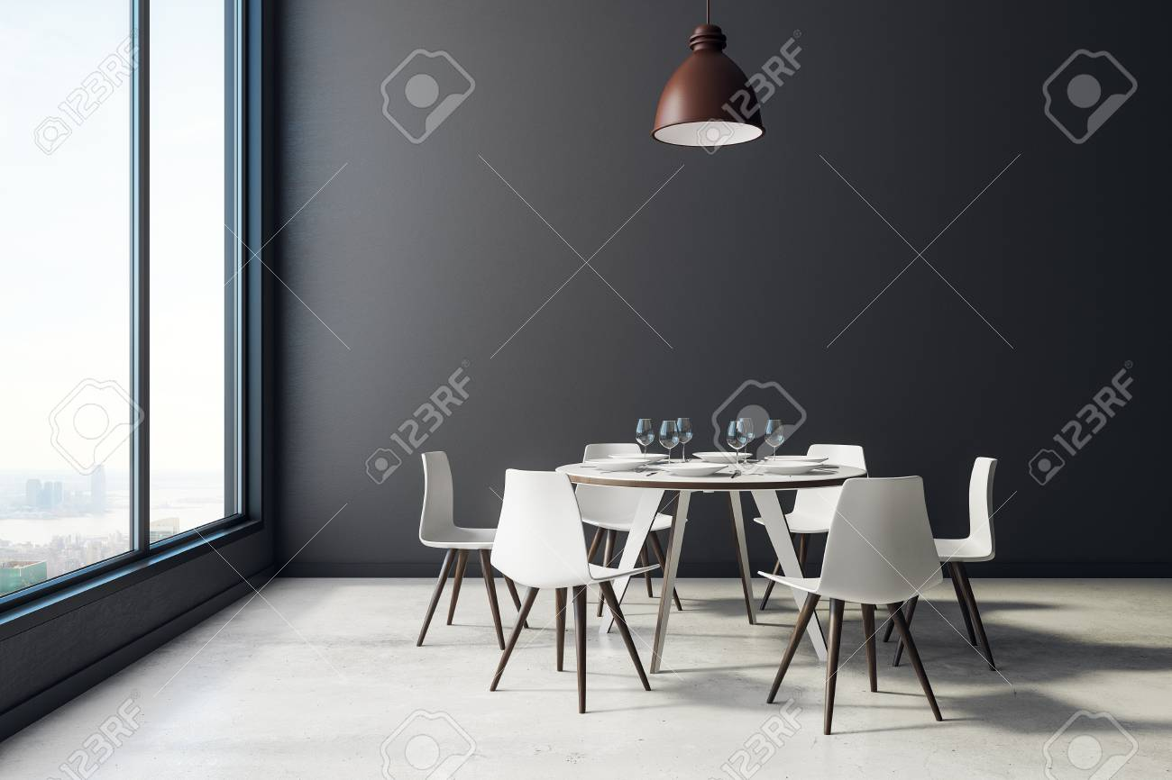 Black Dining Room Interior With Furniture Dishware City View Stock Photo Picture And Royalty Free Image Image 99419823