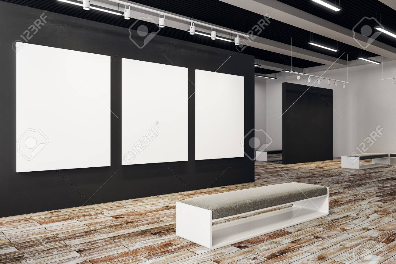 Clean exhibition hall with empty poster and bench  Gallery, art,