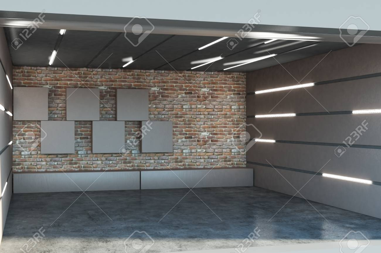Admirable Creative Metal Garage Interior With Illuminated Walls 3D Rendering Download Free Architecture Designs Rallybritishbridgeorg