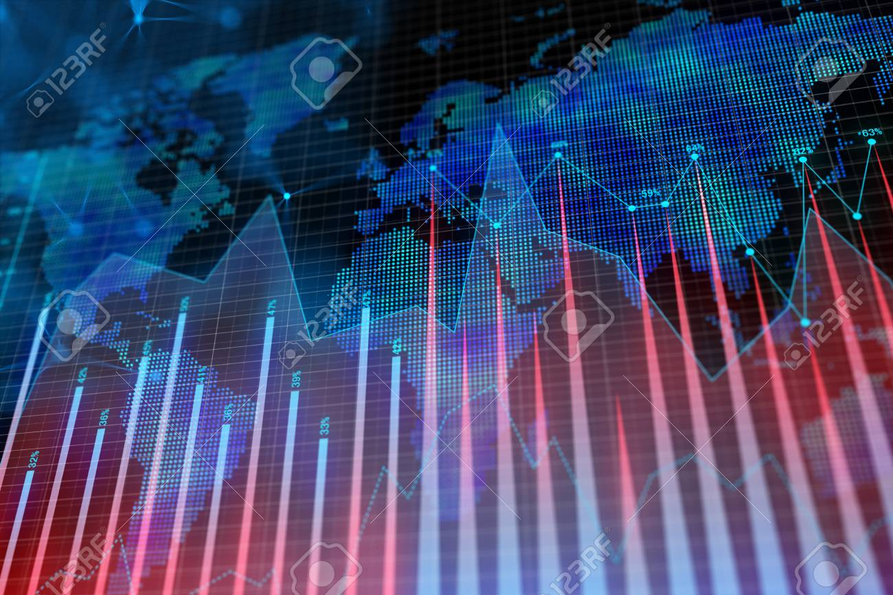 Abstract glowing forex background with map. Global business, trade and growth concept. 3D Rendering - 100051834
