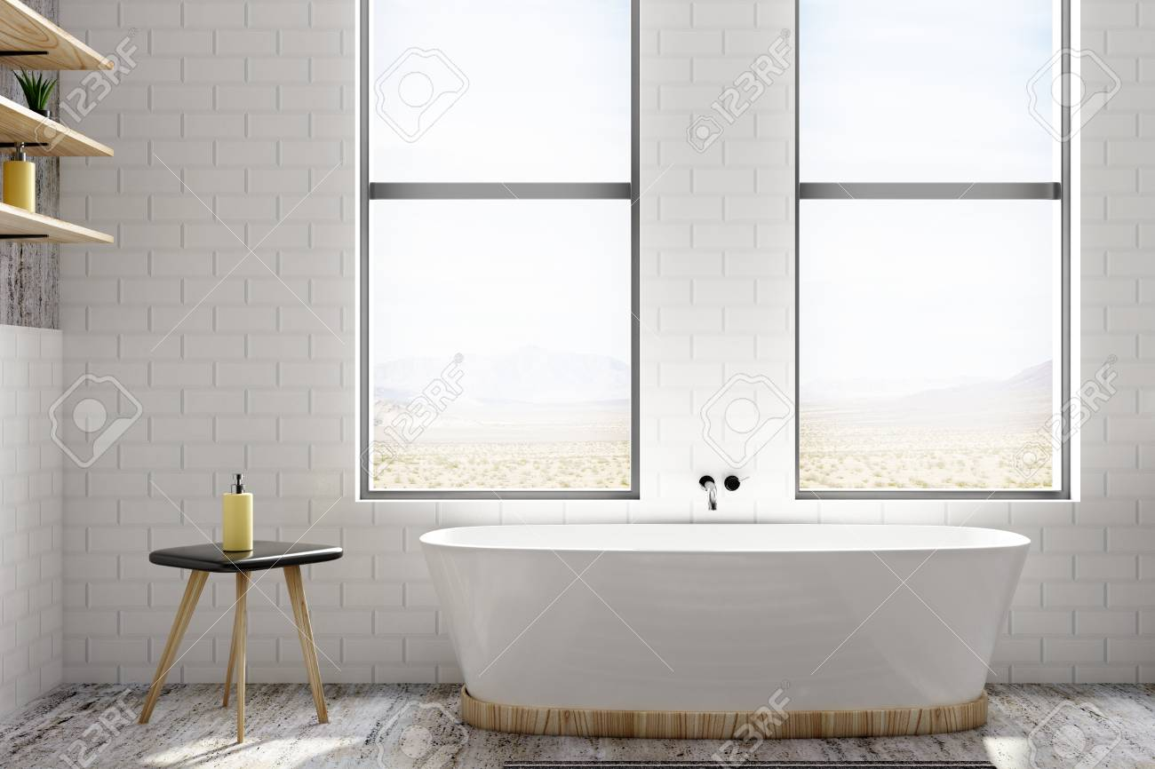 Bright White Brick Bathroom Interior With Window View And Equipment ...
