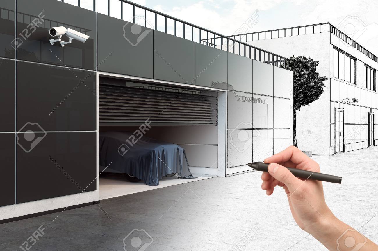 Hand Drawing Abstract Garage Interior Design And Engineering