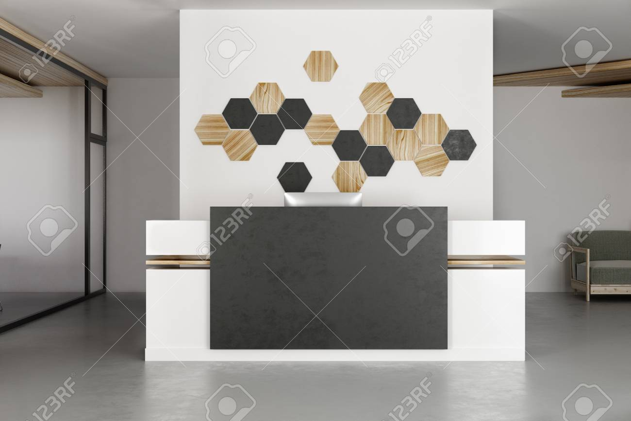 Image of: Contemporary Office Interior With Reception Desk And Decor Mosaic Stock Photo Picture And Royalty Free Image Image 102469074
