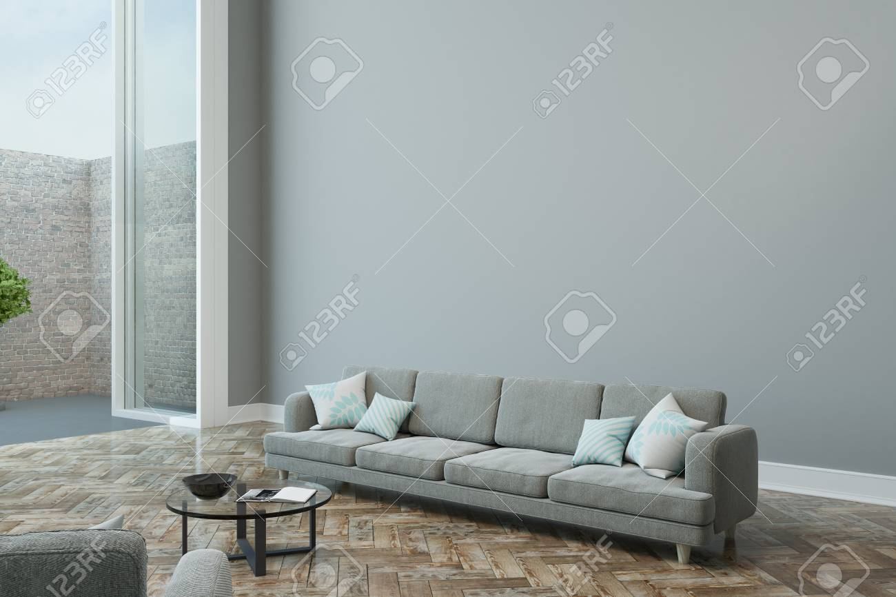 Modern Design Of Living Room With Light Furniture Empty Grey