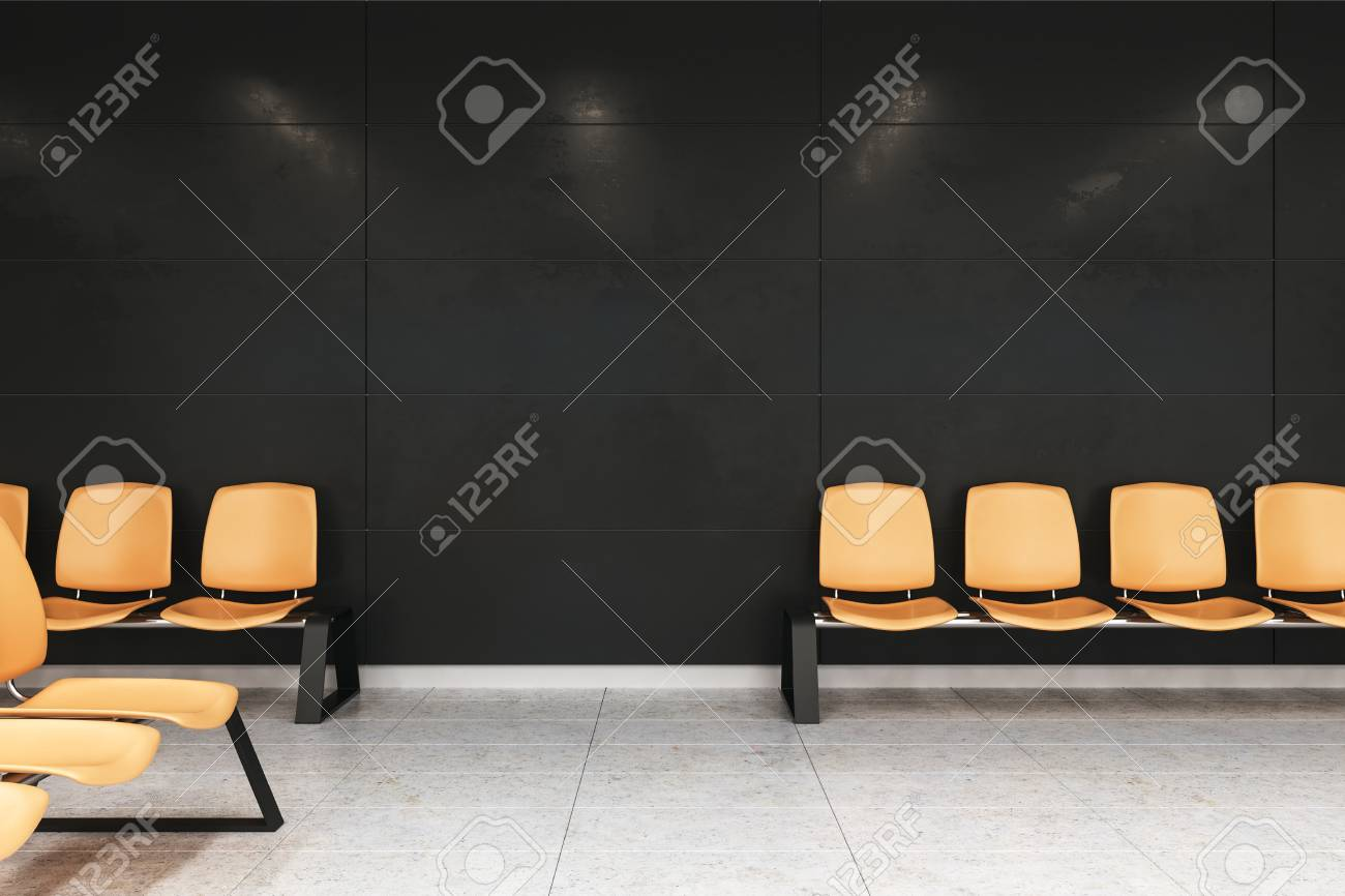 Remarkable Modern Waiting Area With Black Walls Concrete Floor And A Row Bralicious Painted Fabric Chair Ideas Braliciousco