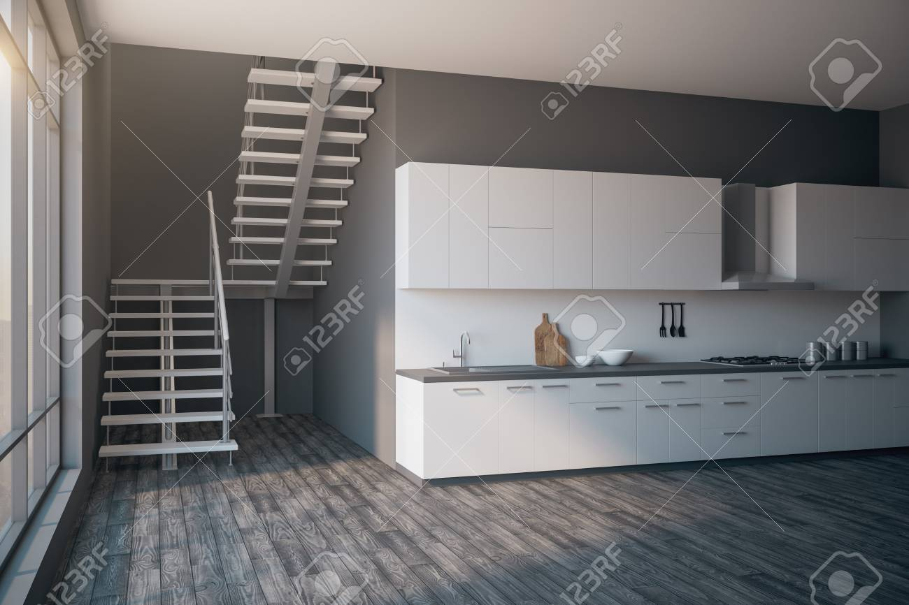 Residential loft kitchen interior with stairs, city view, daylight