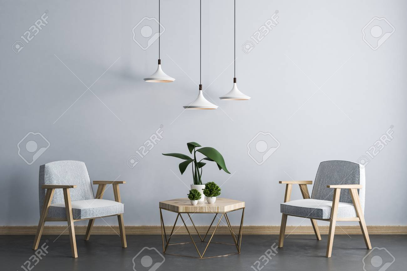 Contemporary Living Room Interior With Armchair Small Table