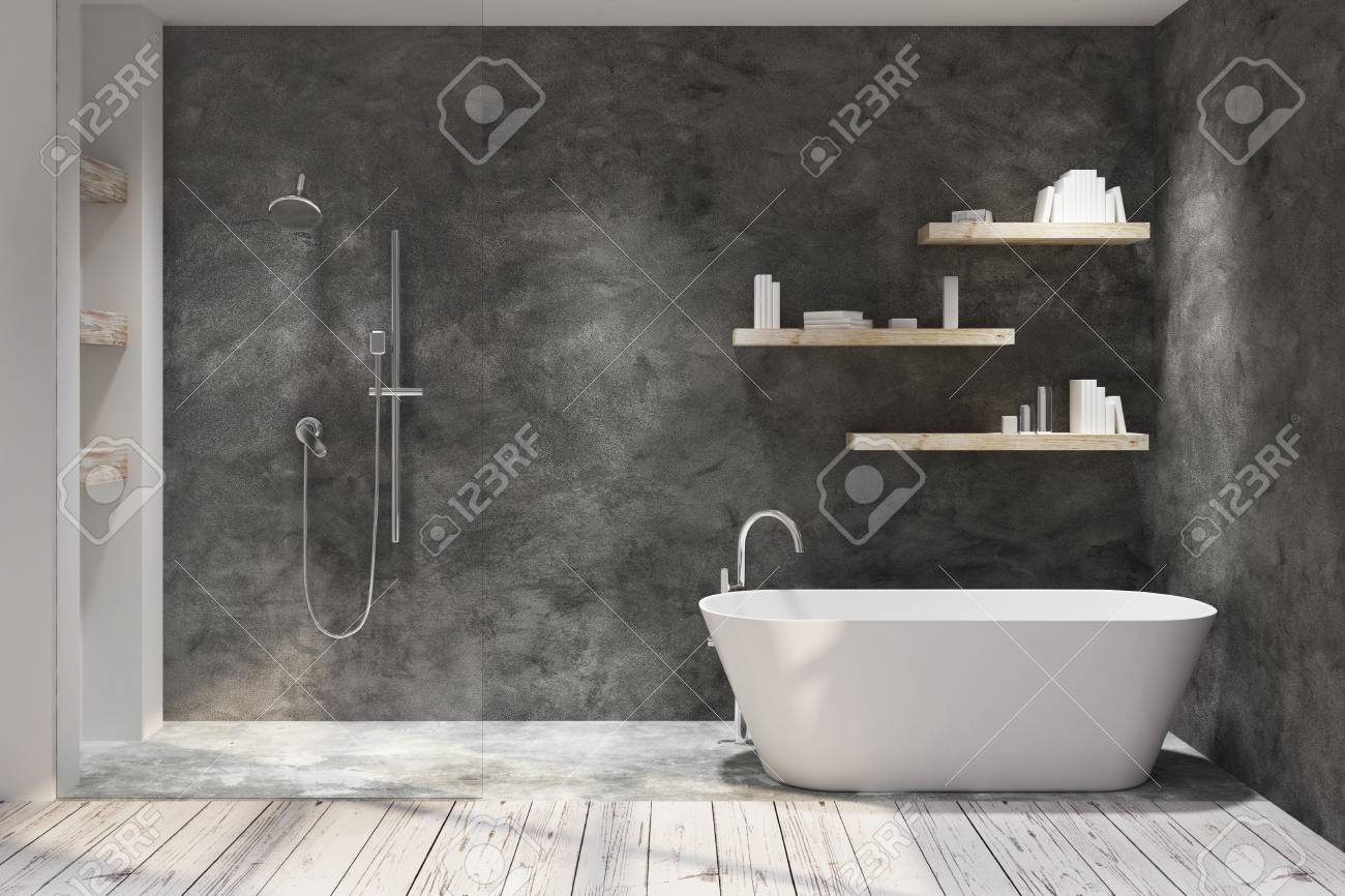 Dark bathroom interior with decorative objects. Style and design concept. 3D Rendering - 105813271