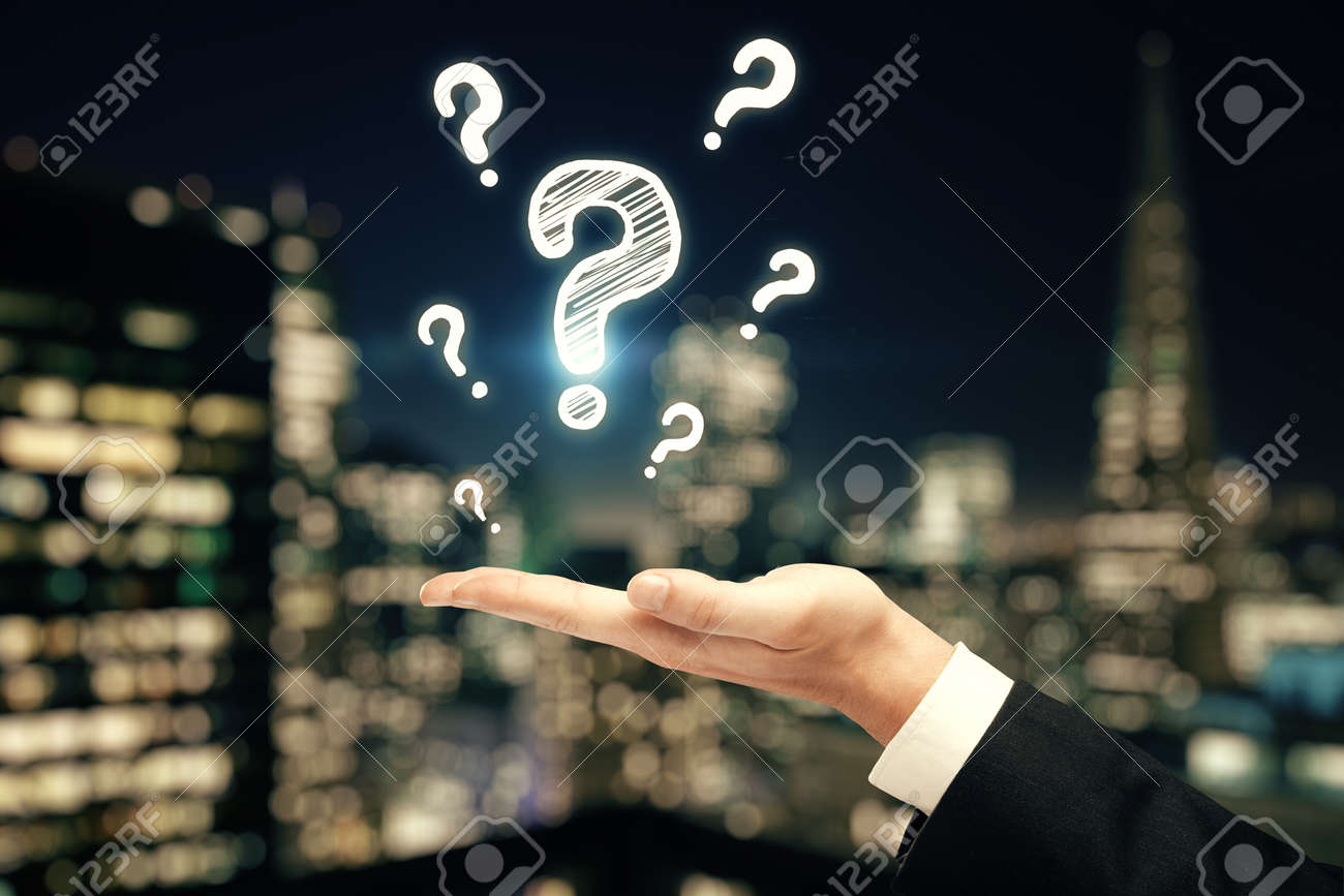 Double exposure of man hands with question marks. Consept of asking and searching information. - 122344189