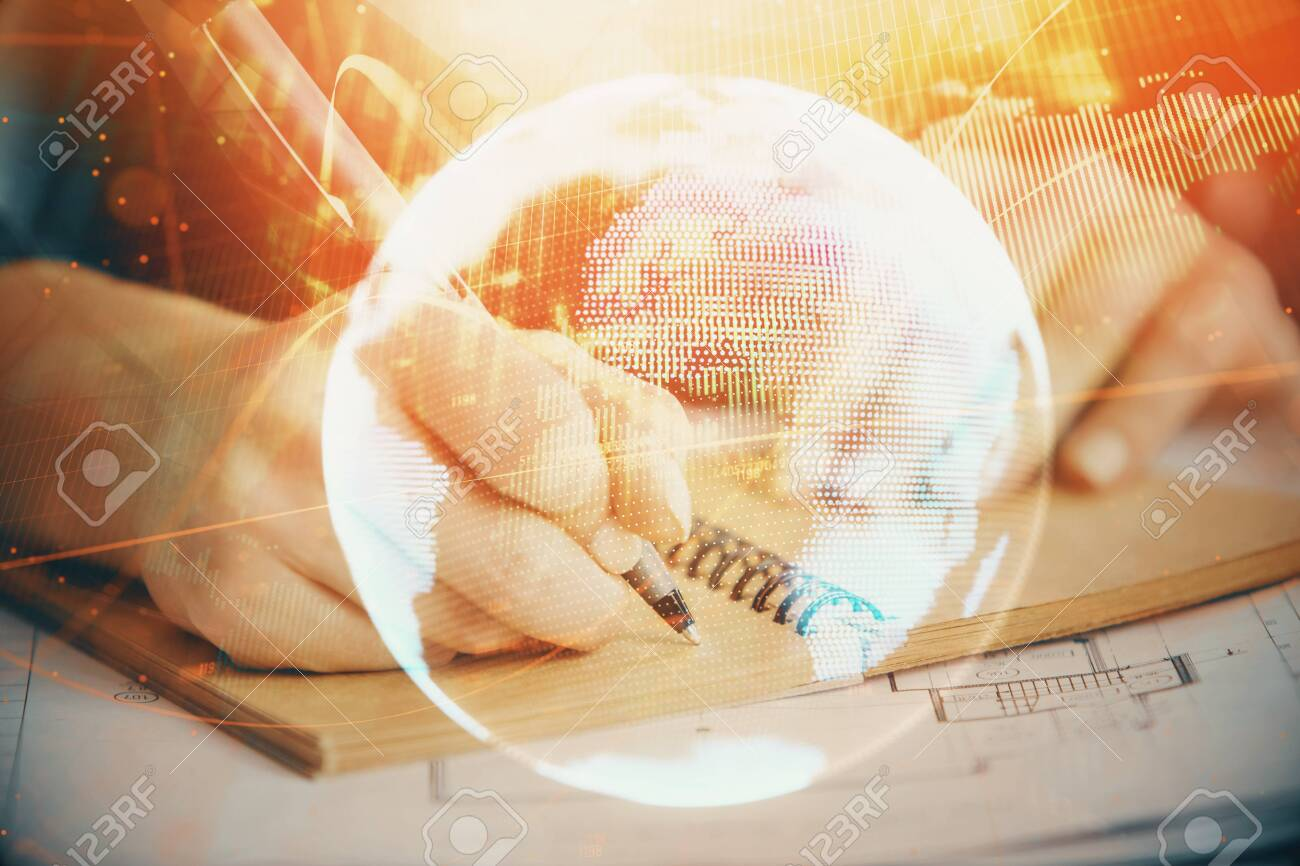 International business hologram over womans hands taking notes background. Concept of success. Double exposure - 127070837