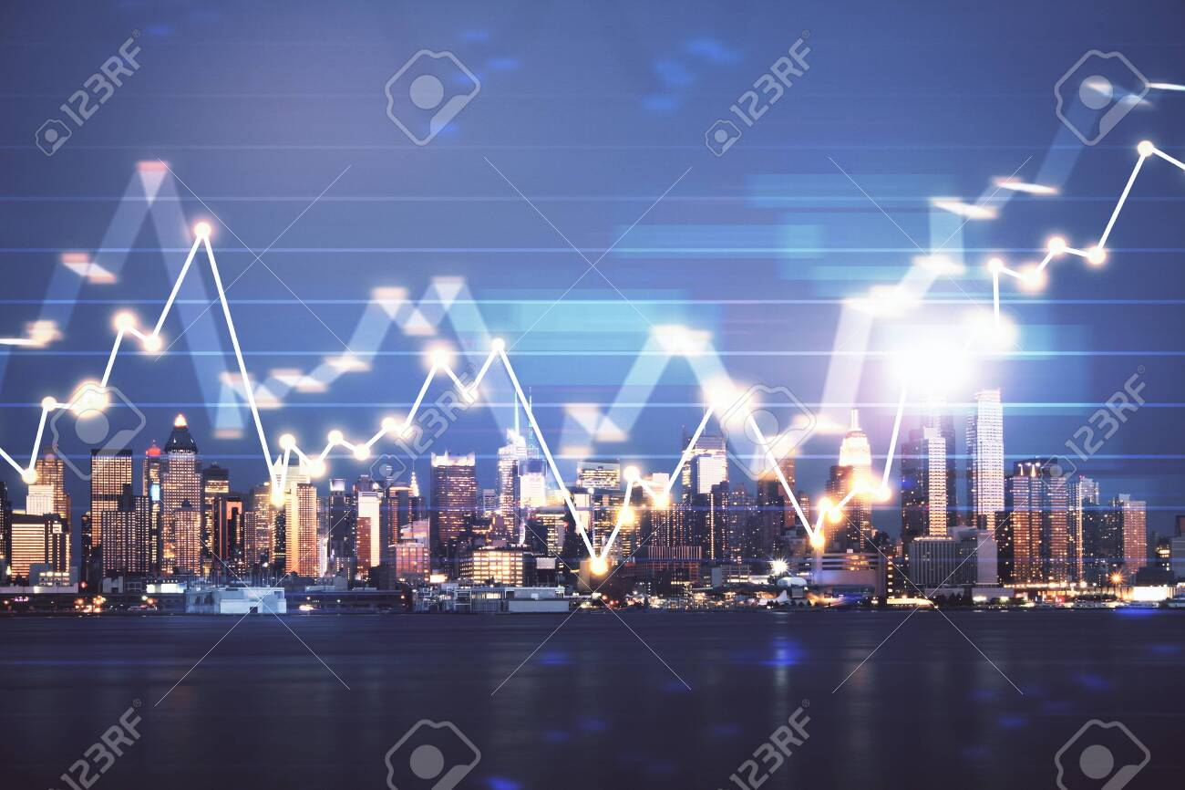Financial graph on night city scape with tall buildings background double exposure. Analysis concept. - 129090450