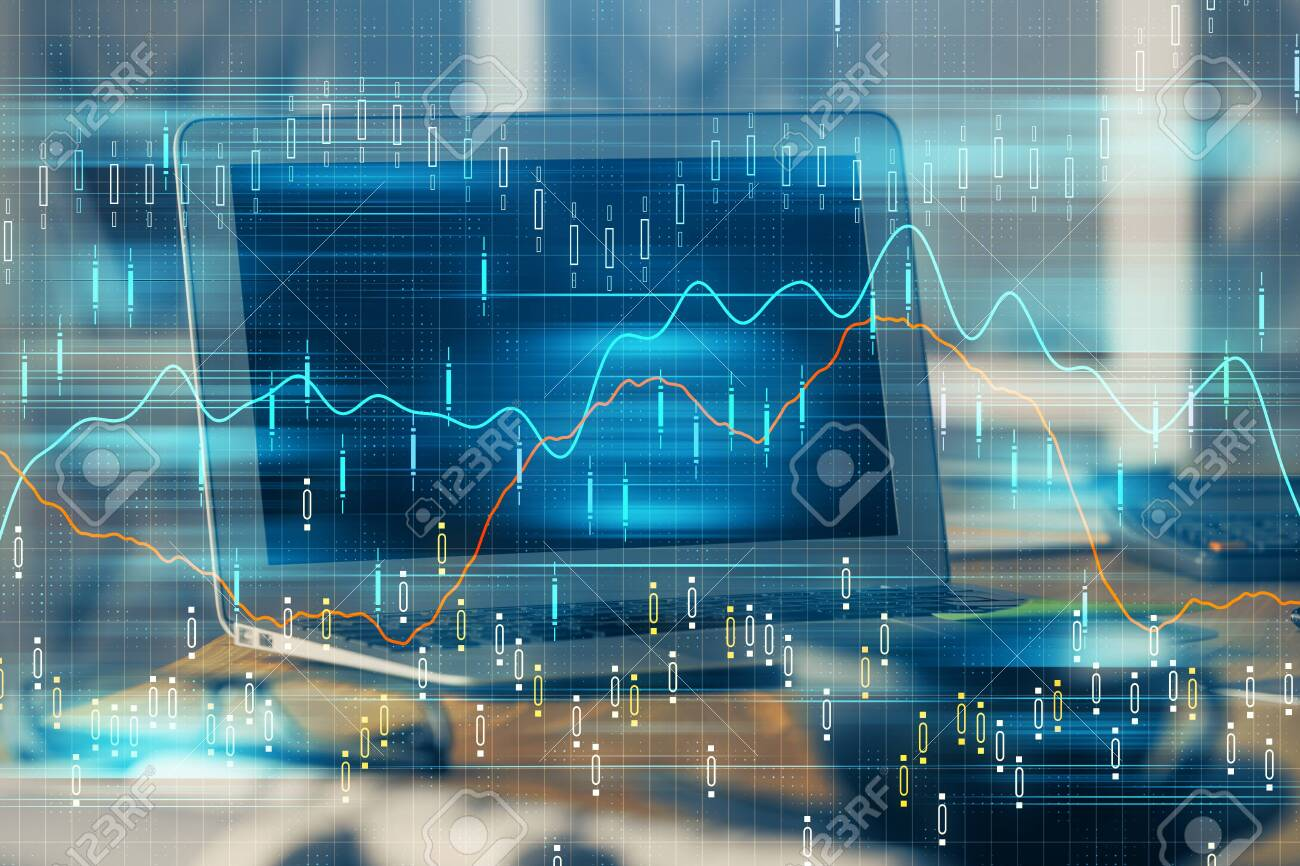 Financial chart drawing and table with computer on background. Double exposure. Concept of international markets. - 129753339