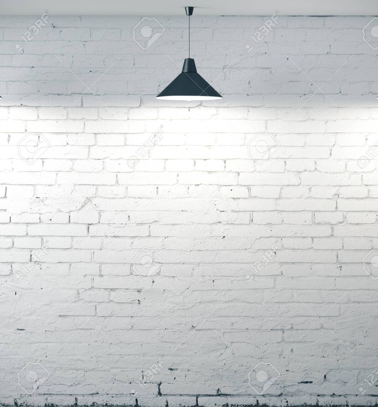 Grunge White Brick Wall Background With Light Bulb 3d Rendering Stock Photo Picture And Royalty Free Image Image 130673164