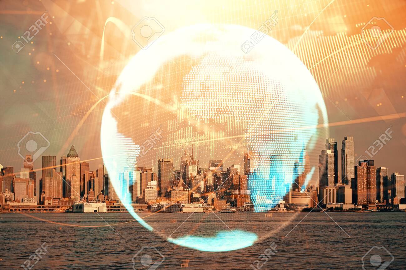 Double exposure of business theme hologram drawing and city veiw background. Concept of success. - 131550888