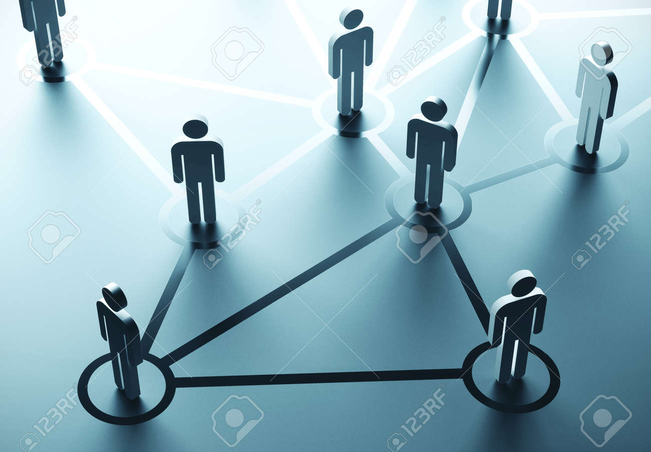 Group of people talking in social network. Business communication concept. 3D Rendering - 133603613