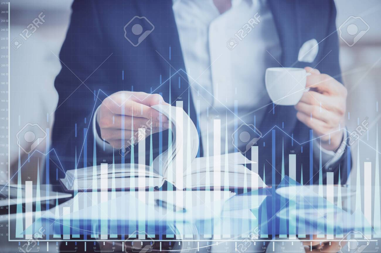 Double exposure of businessman with coffee with stock market forex chart. - 135402116