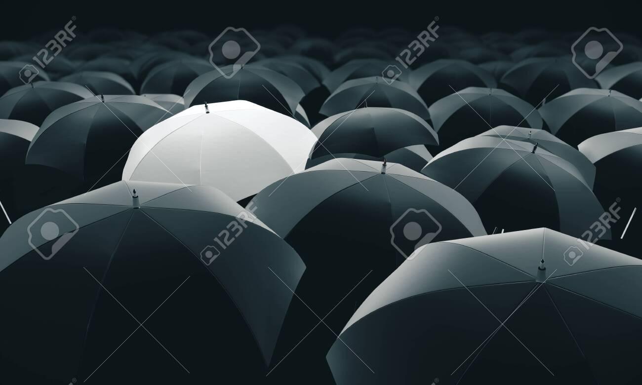 White umbrella in mass of black umbrellas. 3D Rendering - 137529755