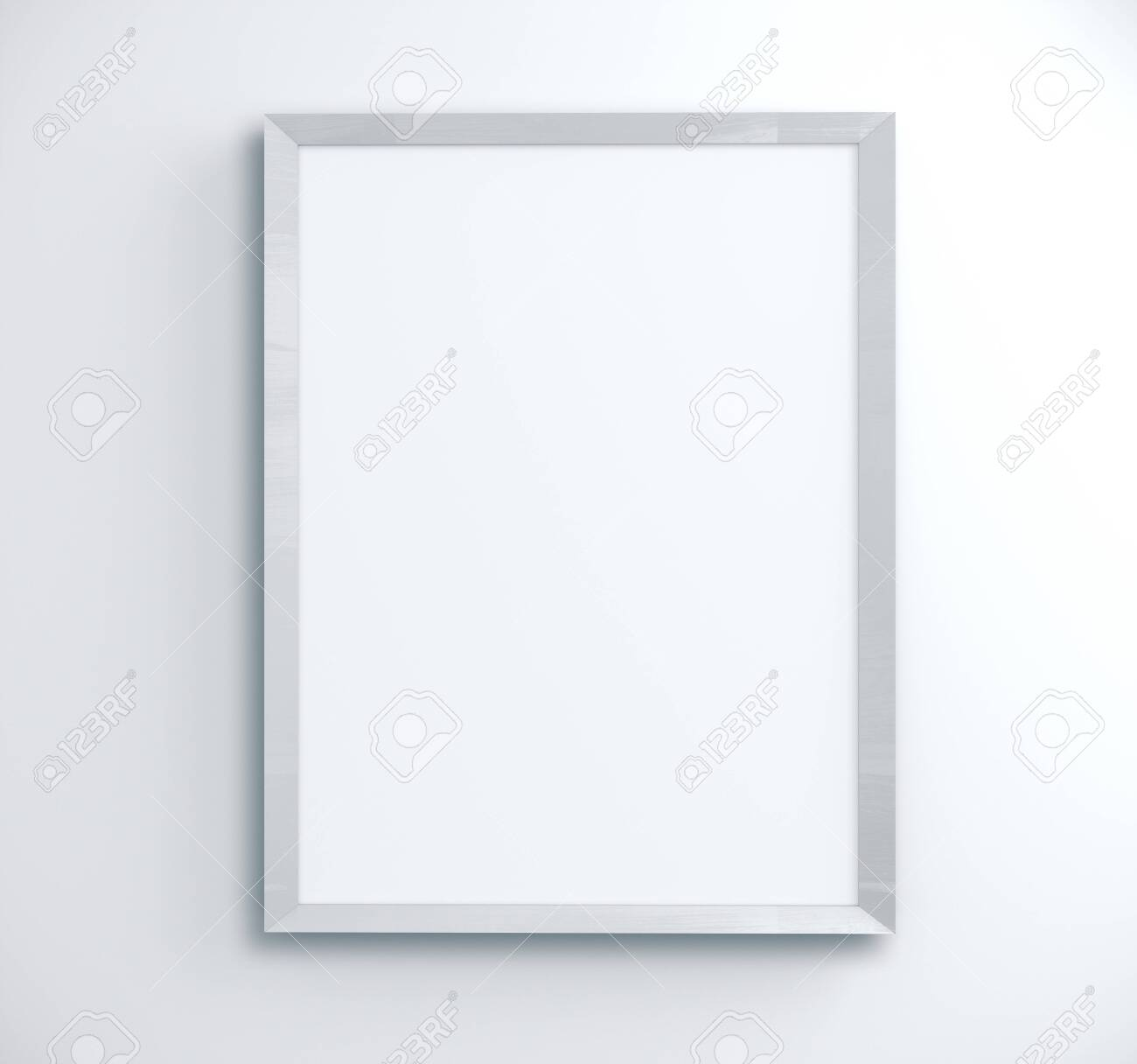 Blank poster on concrete wall. Gallery, art, exhibit and museum concept. Mock up, 3D Rendering - 139675572