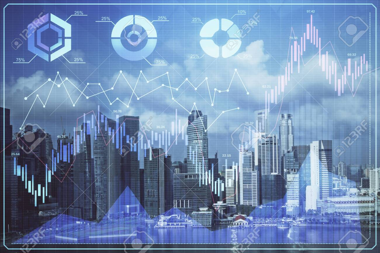 Forex chart on cityscape with skyscrapers wallpaper multi exposure. Financial research concept. - 139647205