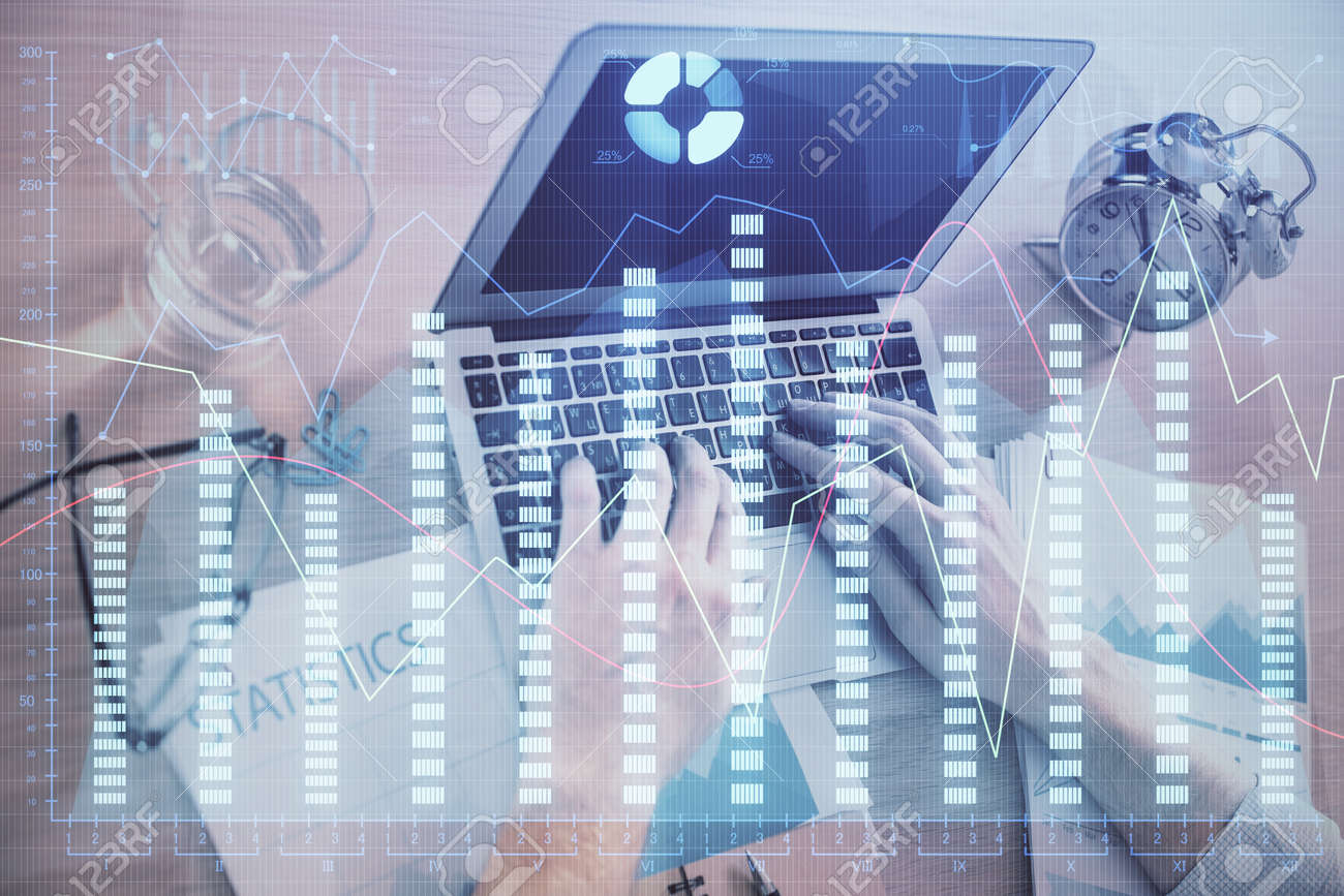 Multi exposure of forex graph with man working on computer on background. Concept of market analysis. - 149728097