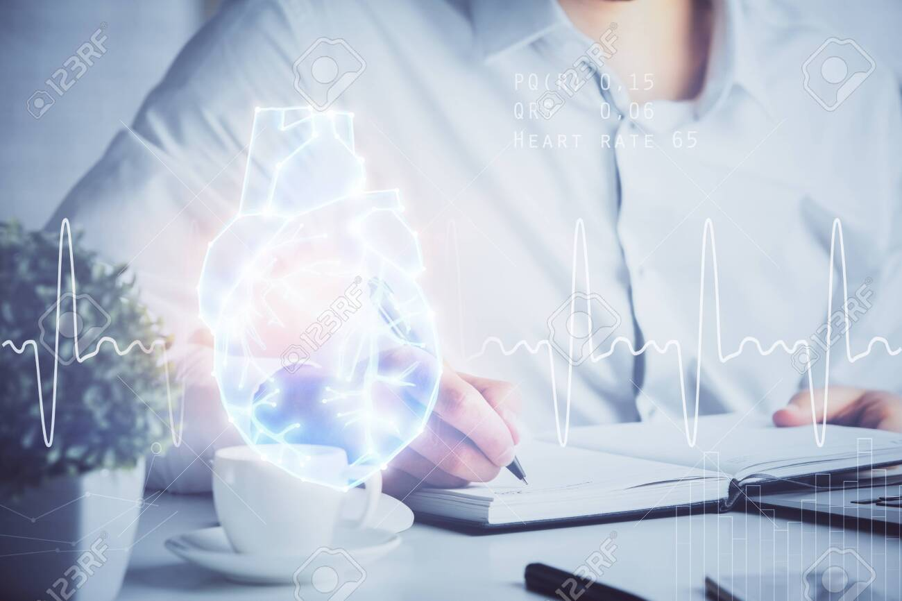 Abstract heart on background. Medicine and health concept. Double exposure - 154091826