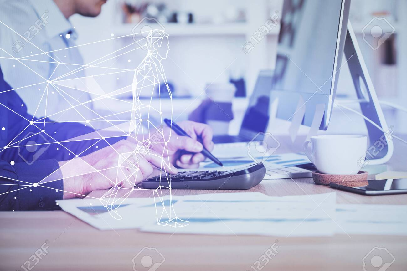 Start up drawings with businessman working on computer on background. Teamwork concept. Double exposure. - 154497779