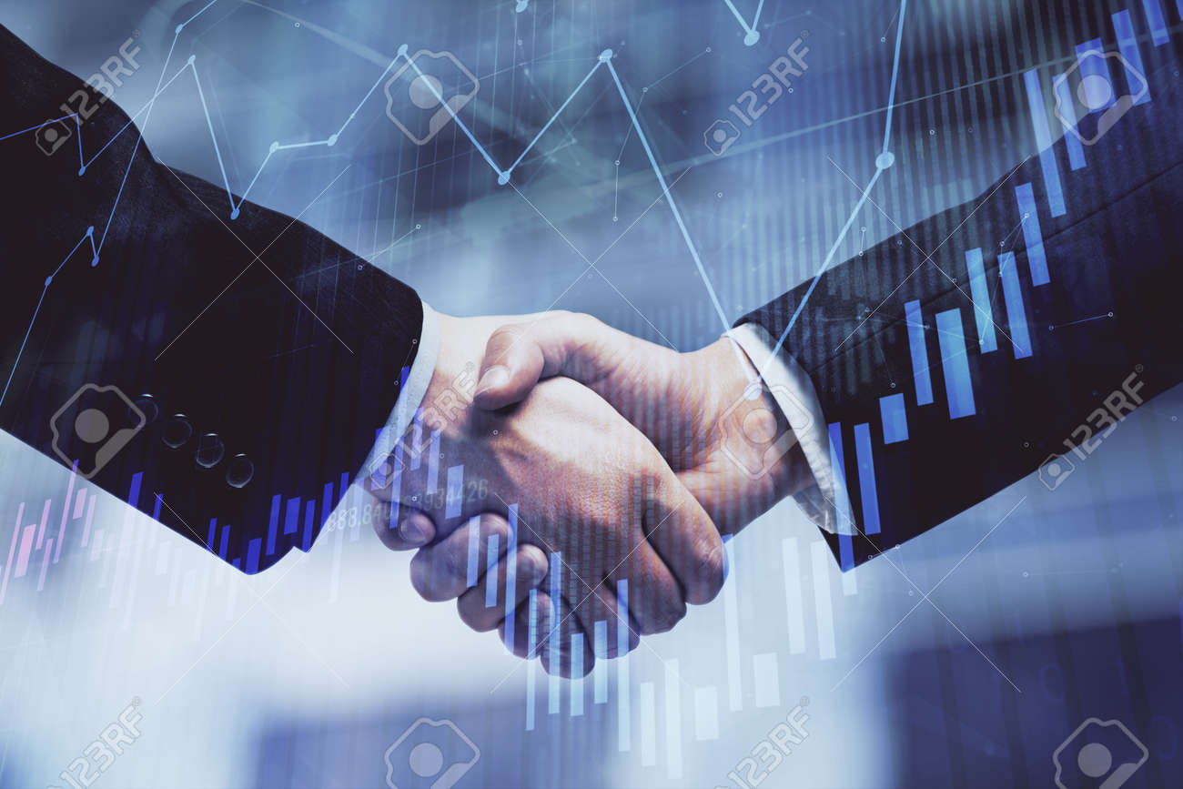 Double exposure of forex graph hologram and handshake of two men. Stock market concept. - 155087502