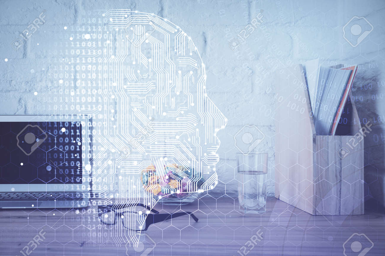 Double exposure of desktop computer and human brain drawing hologram. Ai concept. - 155874071