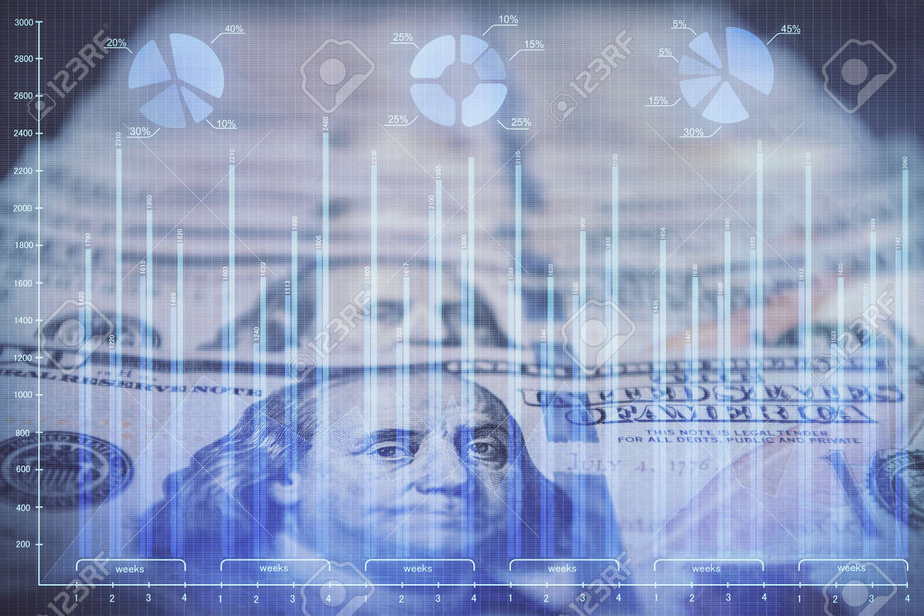 Double exposure of forex graph drawing over us dollars bill background. Concept of financial markets. - 155843149