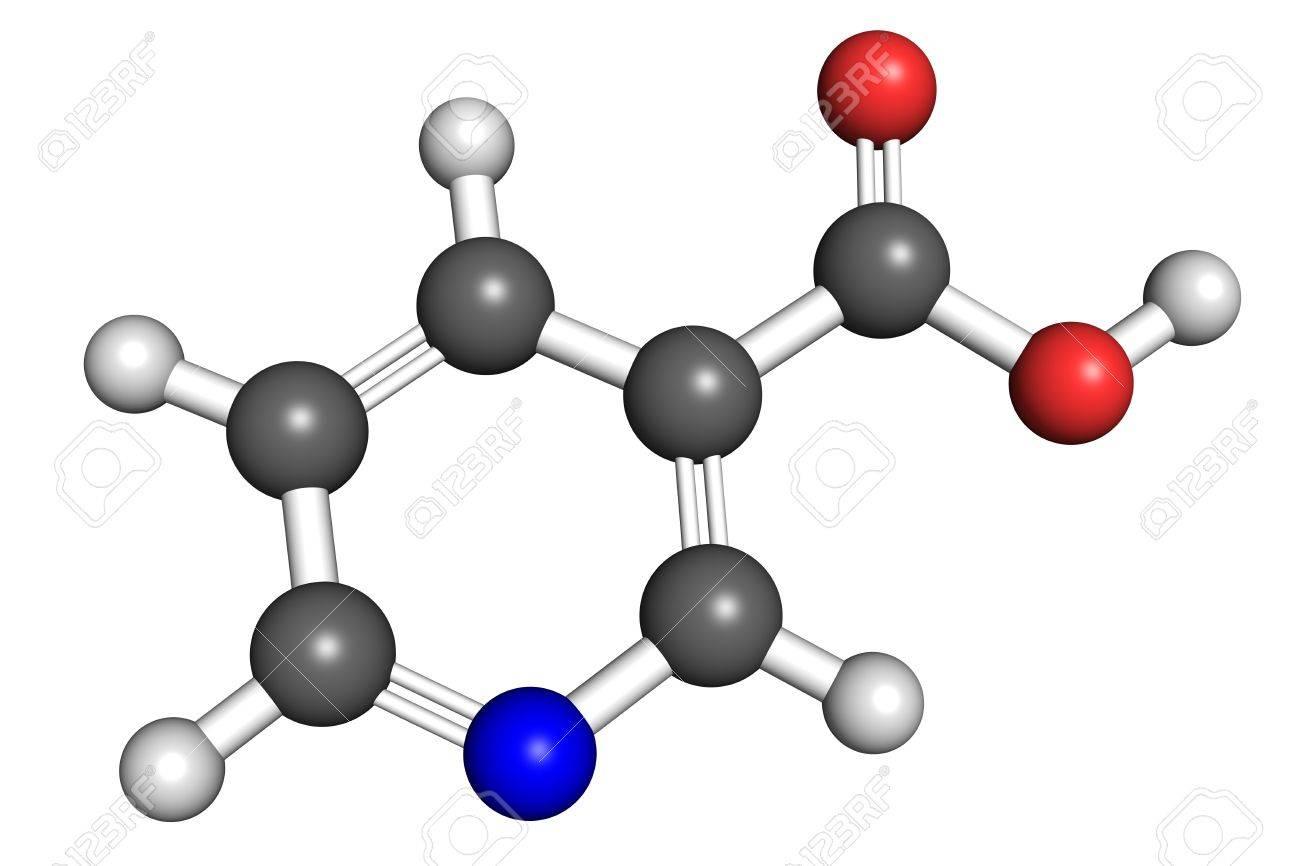Bola Y Palo Modelo De Vitamina B3 También Conocido Como Niacina Y ácido Nicotínico Los átomos Están Coloreados De Acuerdo Con La Convención