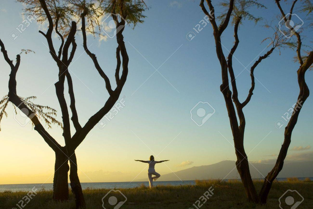 silhouette of woman practicing yoga at sunset on the Island of Maui in Hawaii Stock Photo - 1799505