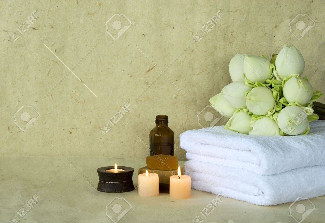 Spa products massage oil with candles and soap with lotus flowers spa products massage oil with candles and soap with lotus flowers stock photo 1961211 dhlflorist Gallery