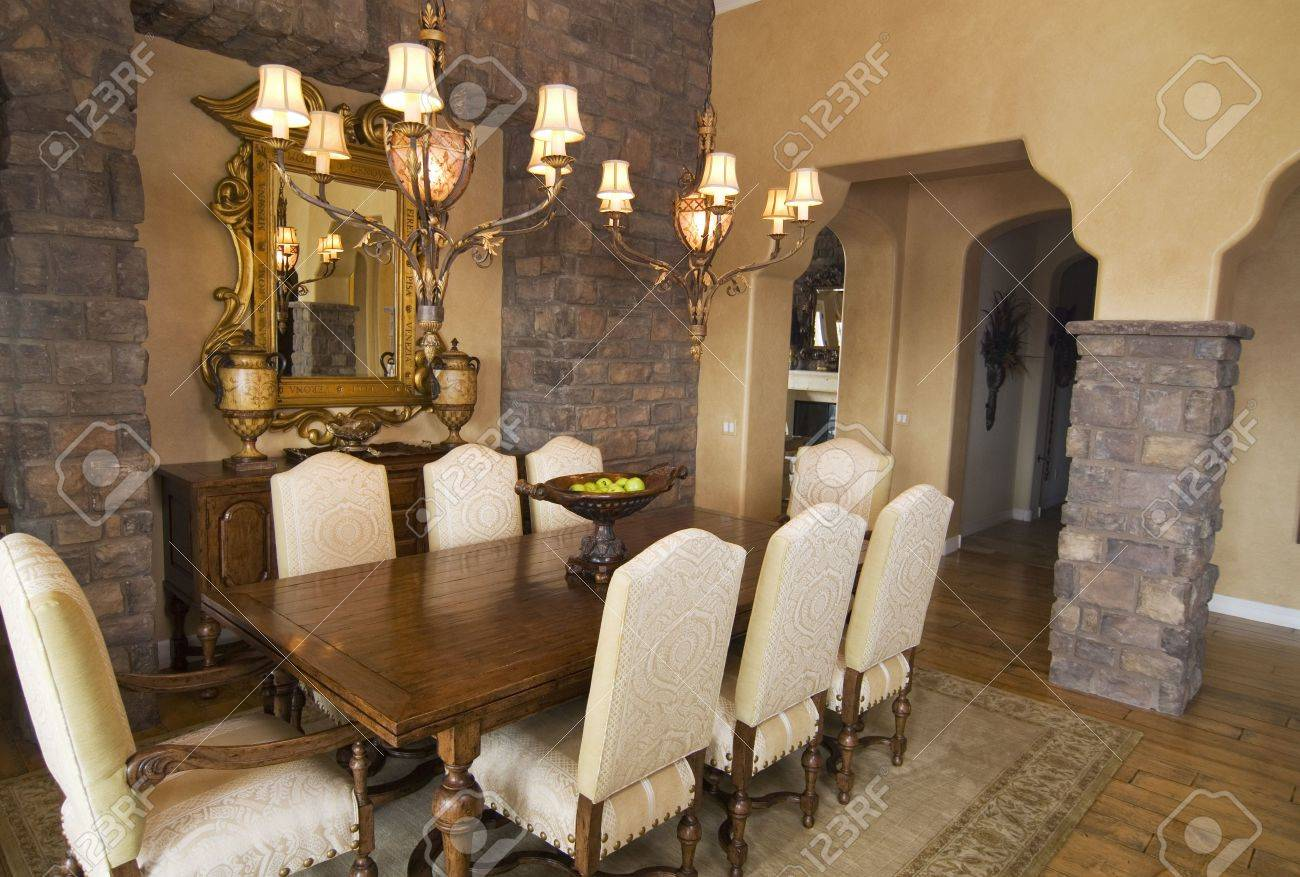 Upscale formal dining room with wooden table Stock Photo - 2494807