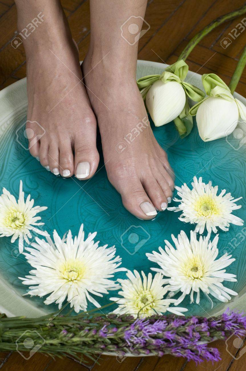 Feet Enjoy A Relaxing Aromatherapy Foot Spa With Lotus Flowers Stock