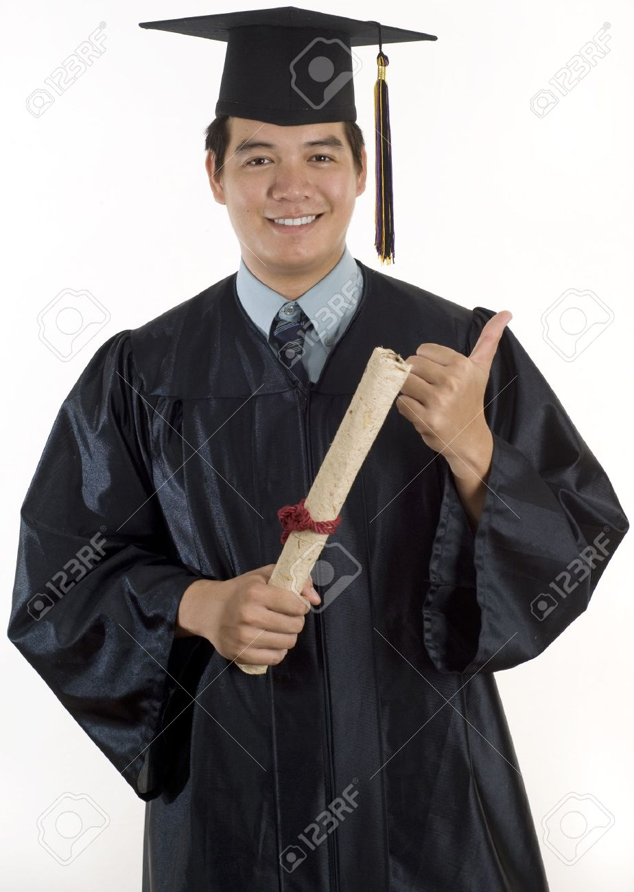 Young Man With Graduation Cap And Gown Stock Photo, Picture And ...