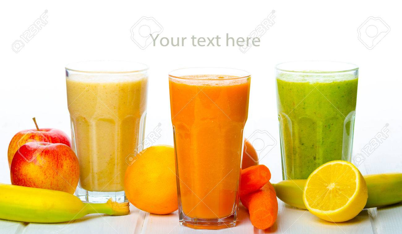Smoothie Day, time for health - apple-banana, carrot-orange and
