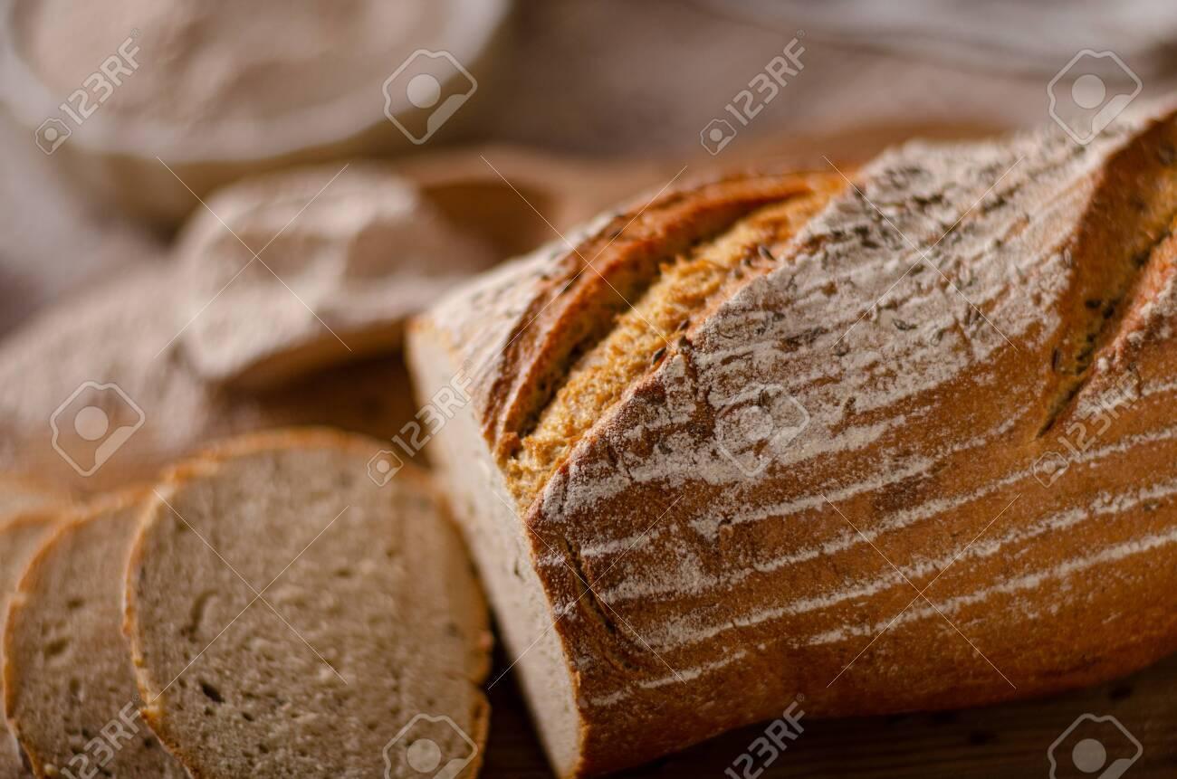 Delicious homemade caraway bread, homemade sourdough bread - 138597523