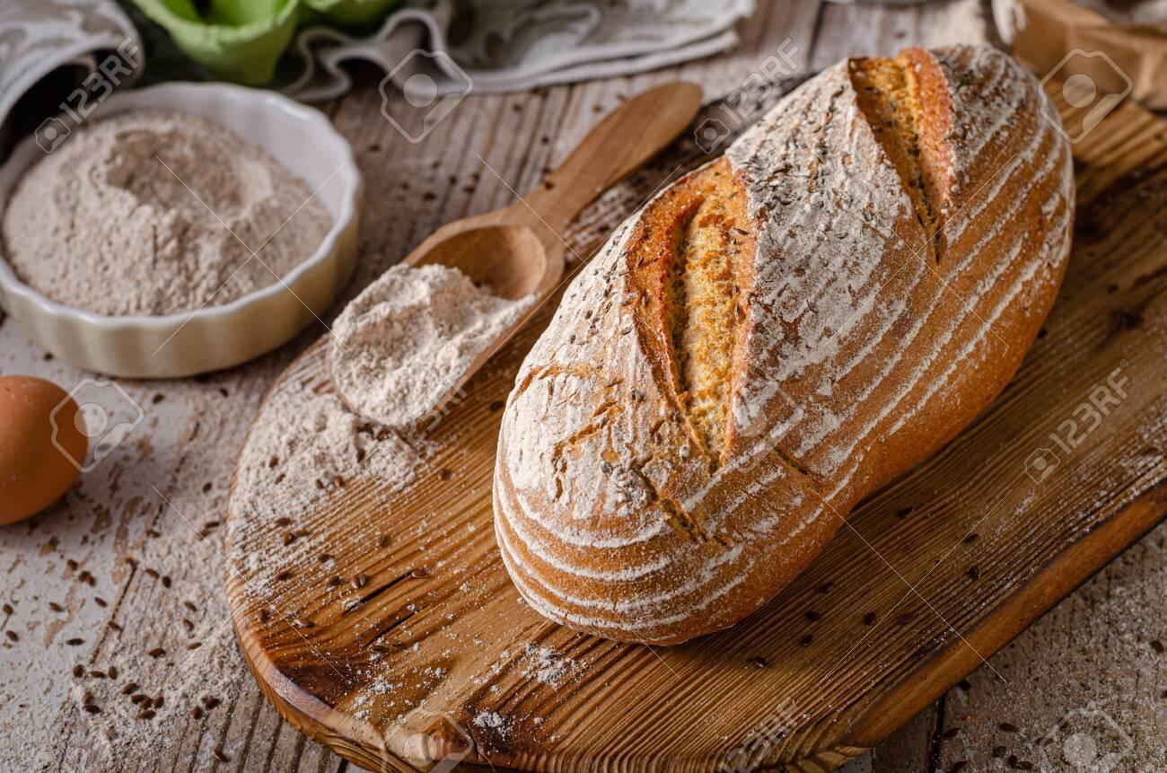 Delicious homemade caraway bread, homemade sourdough bread - 138597538