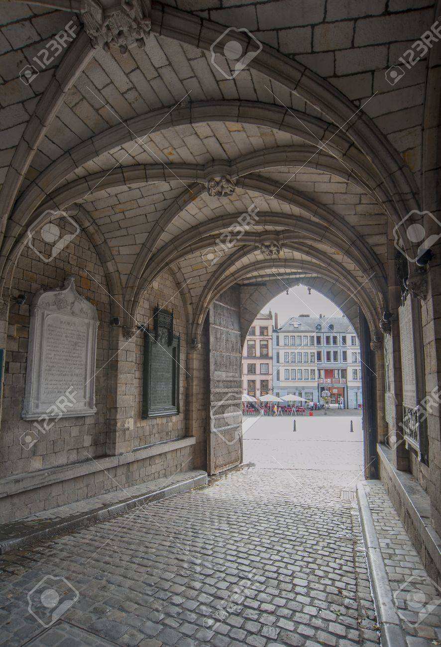 Gothic Archway In Mons Town Hall Belgium Stock Photo