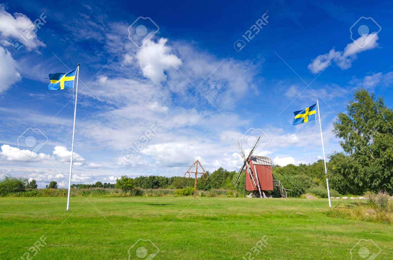 Summer Field With Swedish National Symbols Stock Photo Picture And