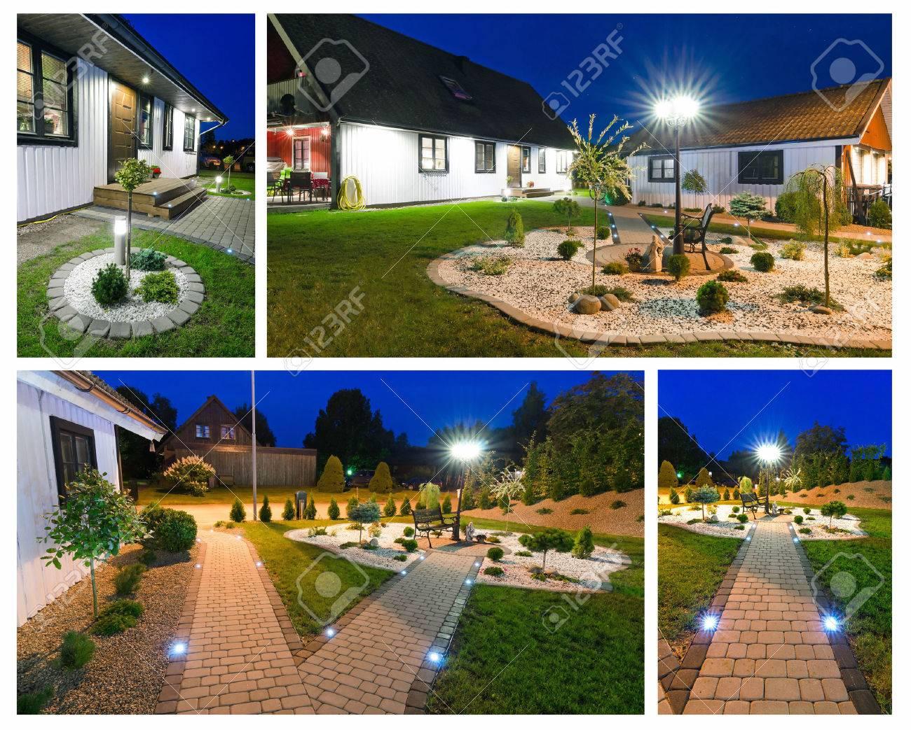 Modern villa at night- collage Stock Photo - 24837239