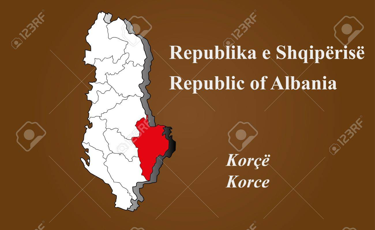 Albania Map In 3D On Brown Background Korce Highlighted Royalty Free