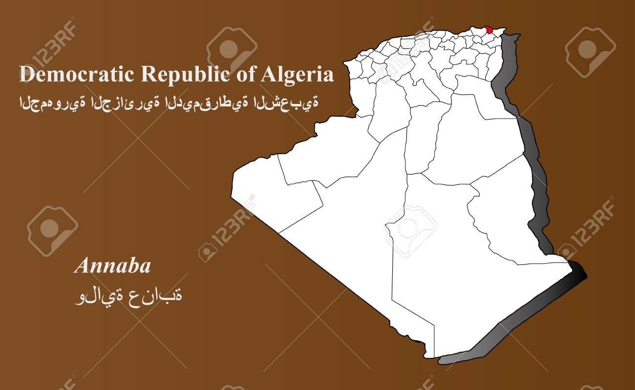 Algeria Map In 3D On Brown Background Annaba Highlighted Royalty