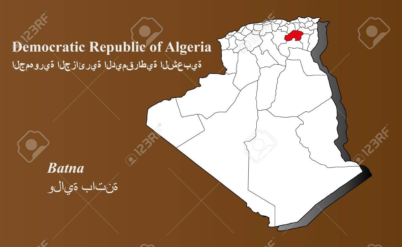 Algeria map in 3D on brown background Batna highlighted