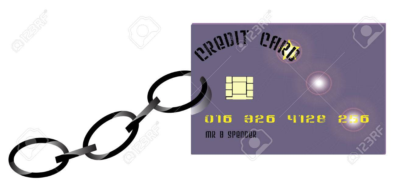 credit card held back by a chain Stock Vector - 4261738
