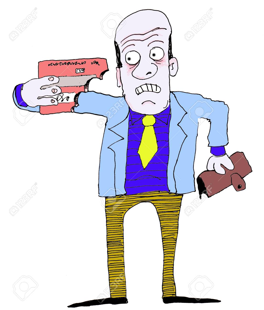 man holding credit card bitten in half Stock Vector - 4261739