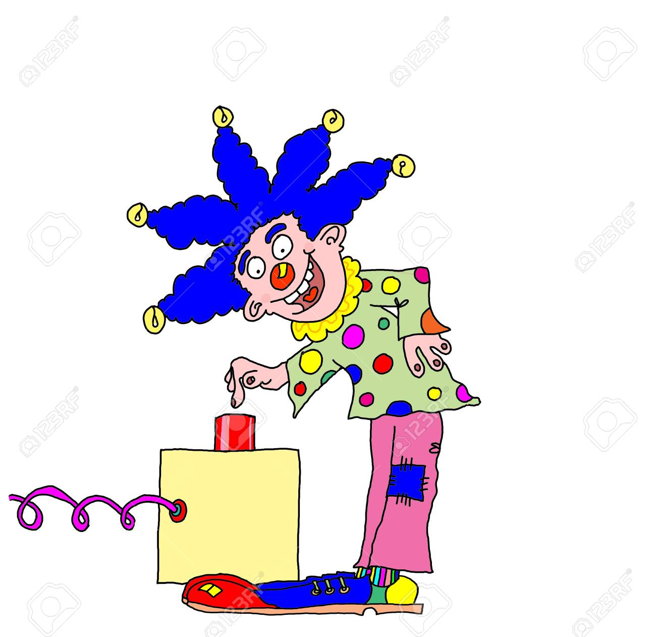 clown about to push a red button with space for text Stock Vector - 4261740