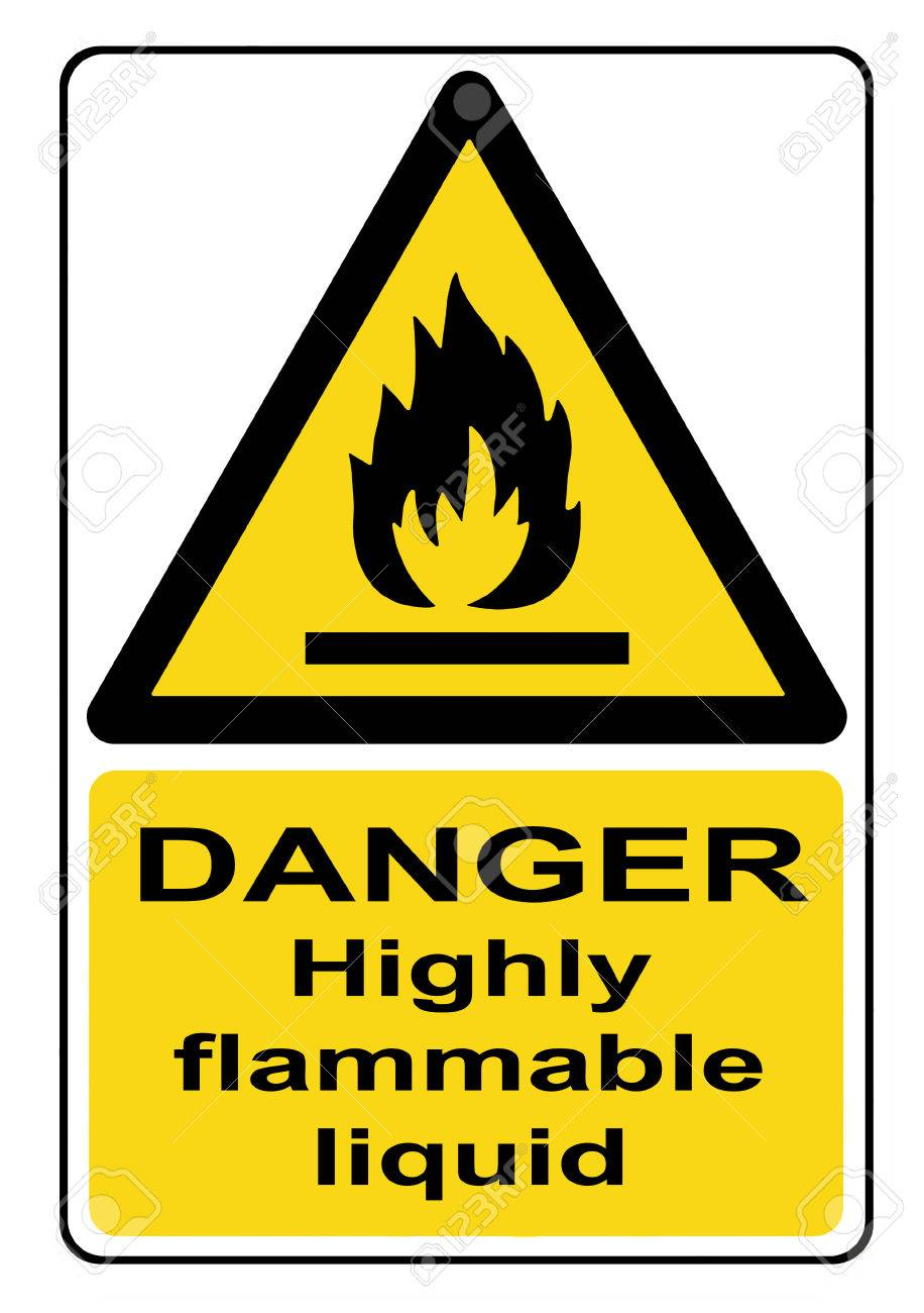 Danger highly flammable liquid yellow warning sign Stock Photo - 56696896