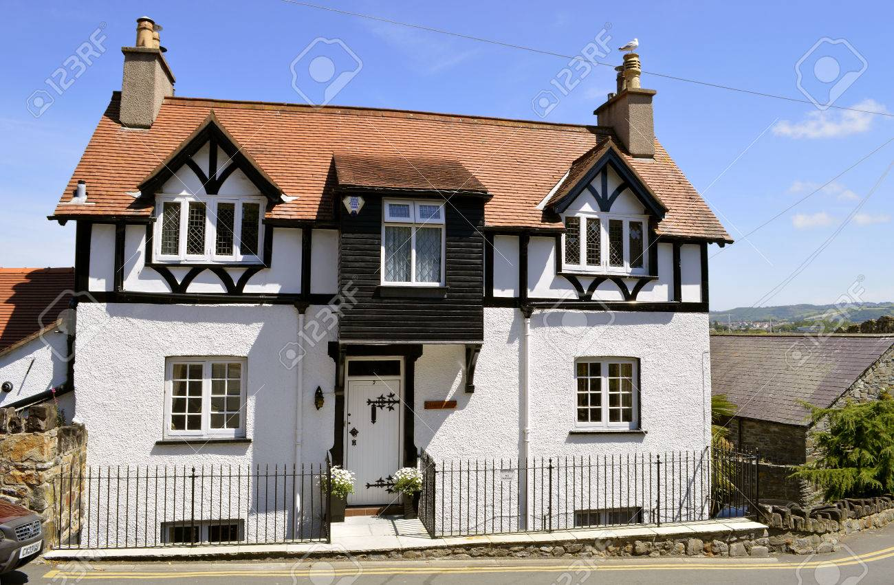 Mock tudor style house in north wales stock photo 75128453